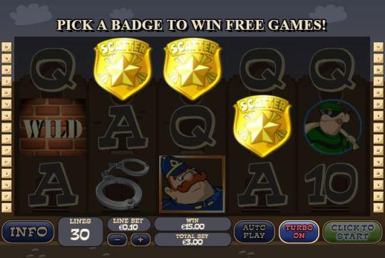 Скриншот на котором активировалась бонусная игра Cops Bandits.