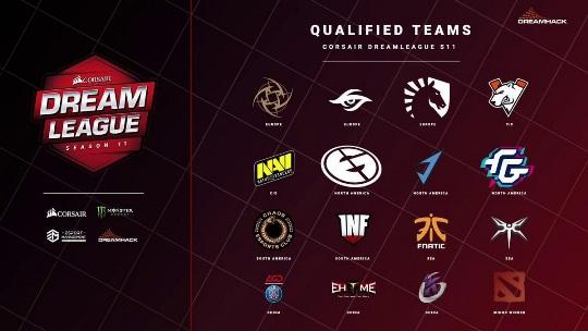 На изображении логотипы команд, отобравшихся на Dreamleague Season 11.