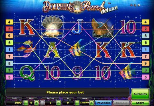 Скриншот игрового поля автомата Dolphin's Pearl.