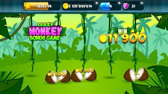 На скриншоте фрагмент бонусной игры Crazy Monkey