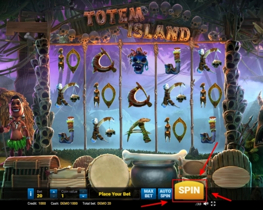 На скриншоте показано как начать играть в игровом автомате.